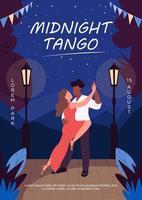 modelo de vetor plano de pôster de tango da meia-noite