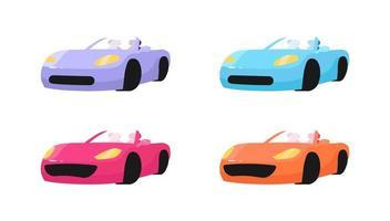 conjunto de objetos planos de carros de luxo vetor