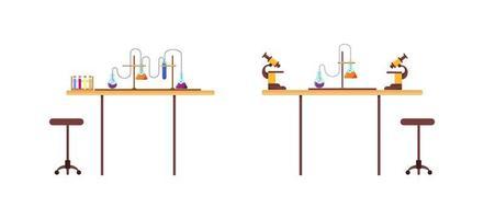 conjunto de objetos planos de mesa de química vetor