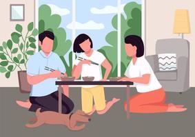 ilustração em vetor cor lisa jantar em família asiático
