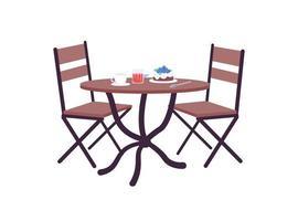 mesa de café com objeto de vetor de cor lisa