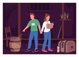 casal na sala de escape ilustração vetorial de cor lisa vetor