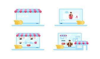 conjunto de objetos planos de mercados online