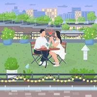 ilustração em vetor cor lisa data romântica no telhado