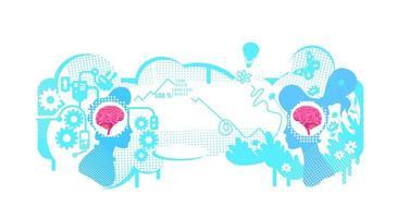 ilustração em vetor conceito plano de pensamento criativo e técnico