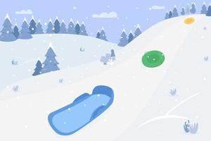 montanhas de neve com ilustração vetorial semi plana de trenós vetor