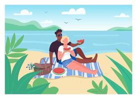 piquenique romântico na ilustração vetorial de cor plana de praia vetor