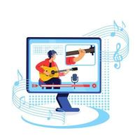 ilustração em vetor conceito plana tutorial de guitarra na internet