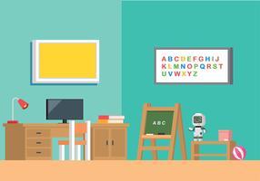 Vector de interiores de decoração de quarto para crianças