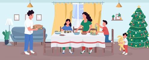 ilustração vetorial semi plana de preparação de jantar de natal vetor