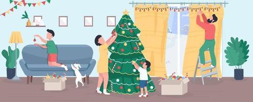 família decorar árvore de natal ilustração vetorial plana vetor