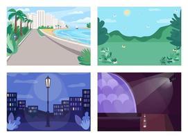 conjunto de ilustração vetorial de cor plana de local de férias vetor
