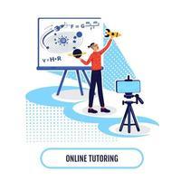 ilustração em vetor conceito plano de aprendizagem acadêmica online