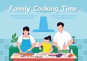 família cozinhar tempo banner modelo de vetor plano