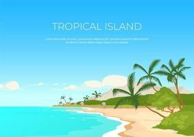 modelo de vetor plana de banner ilha tropical