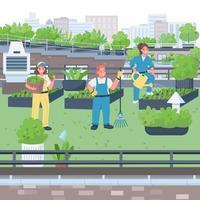 ilustração em vetor mulher jardineira cor plana