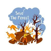 blazing woods 2d vector web banner, poster