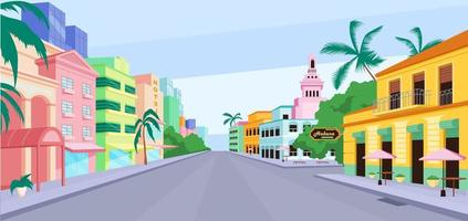 ilustração em vetor cor lisa cuba city life