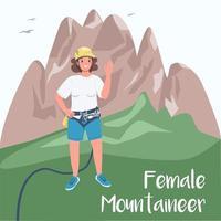 mulher alpinista postagem nas redes sociais vetor