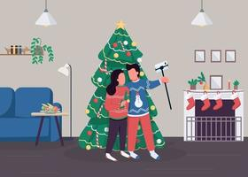 casal comemora natal ilustração vetorial de cor lisa