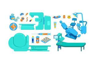 conjunto de objetos de vetor de cor plana de equipamento clínico