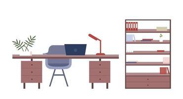 objetos de vetor de cor plana de móveis de escritório