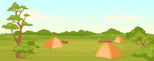 ilustração vetorial de cor plana de acampamento