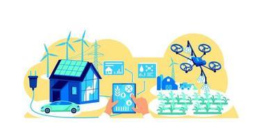 Ilustração em vetor tecnologia inteligente para agricultura