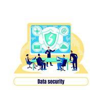 vetor de conceito plano de proteção cibernética