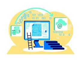 processamento de ilustração em vetor conceito plano de código binário