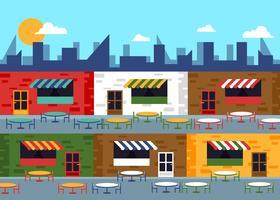 Food Court Commercial Center Flat Illustration Vector