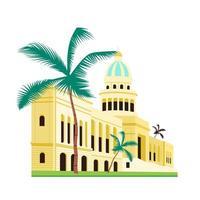 cuba capitol building objeto vetorial de cor plana vetor