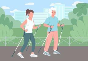 ilustração vetorial caminhada esporte vetor