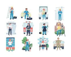 Conjunto de caracteres detalhados de vetor de cor lisa de emprego feminino