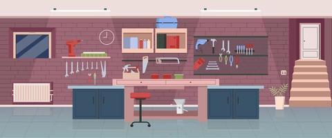 ilustração plana da oficina de carpinteiro vetor
