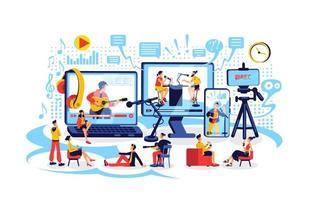 ilustração em vetor conceito plano de criação de conteúdo online