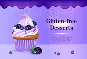 modelo de banner de anúncios de produtos vetoriais realistas para sobremesas sem glúten vetor