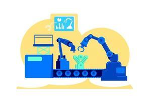 ilustração em vetor conceito plano de fábrica automatizada