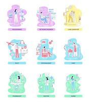 conjunto de ilustrações vetoriais de conceito de linha fina de profissões médicas e de TI, de serviço e industriais vetor