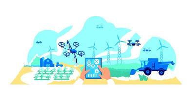 ilustração em vetor conceito plano de agricultura digital