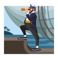Marinheiro com binóculos