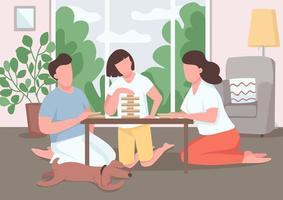ilustração em vetor cor plana jogo de tabuleiro família