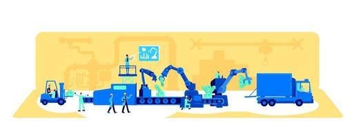 ilustração em vetor conceito plano de processo de produção de fábrica