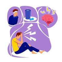 ilustração em vetor conceito plana dor de cabeça