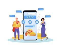 Ilustração em vetor conceito plano de entrega de fast food 24 horas