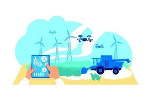 ilustração em vetor conceito plano de agronegócio futurista