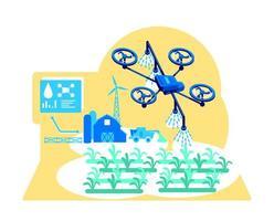 ilustração em vetor conceito plano de irrigação futurista