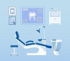 conjunto de objetos vetoriais de cor plana para sala odontológica vetor