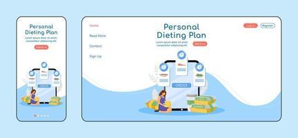 plano de dieta pessoal modelo de vetor de cor plana de página de destino adaptável