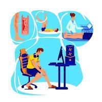 ilustração em vetor conceito plana inflamação das articulações
